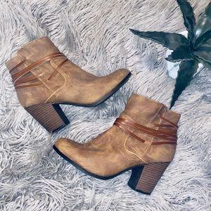 EUC Big Buddha brown heeled booties